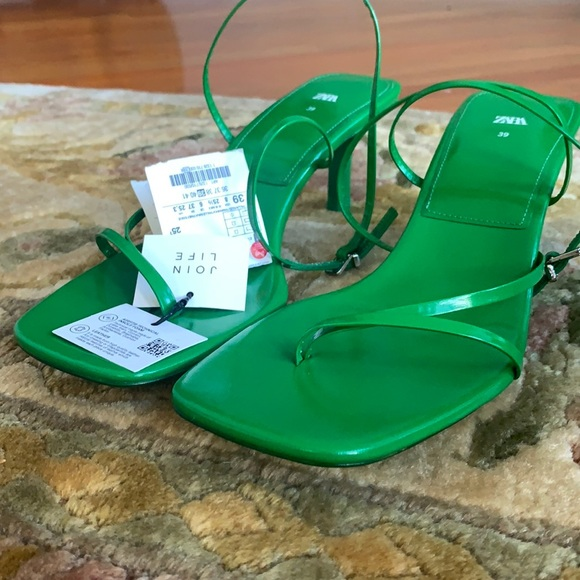 Brand new Zara green leather sandals with box
